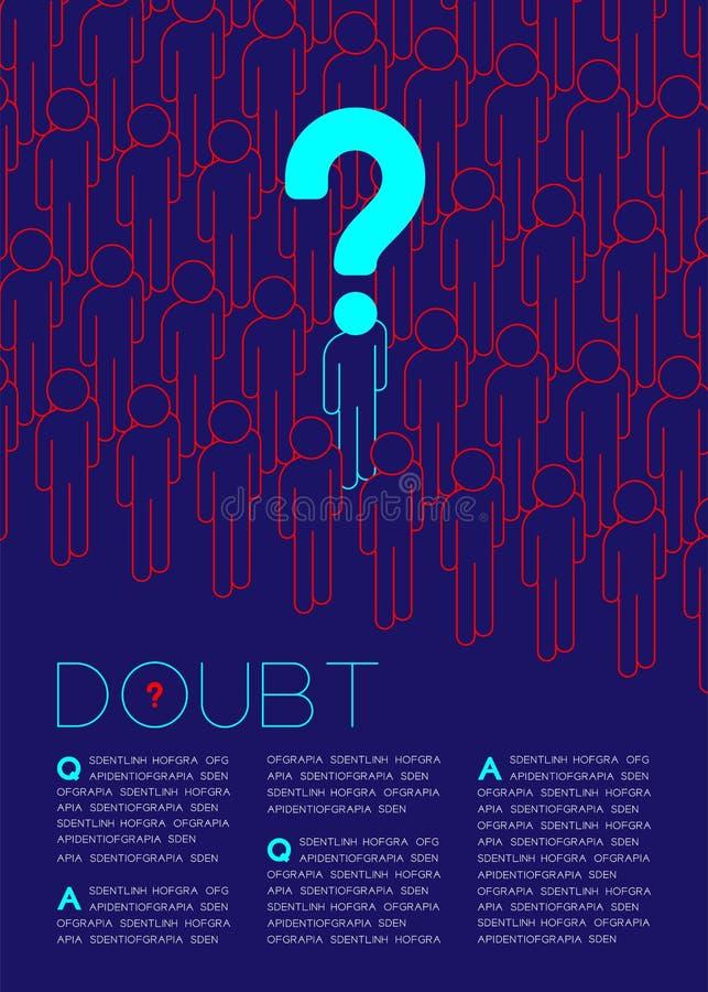 Znak zapytania z wątpliwość mężczyzna ikony piktogramem w kolejce, socjalny wydaje: Reguły pojęcia magazynu strony układu projekt ilustracji