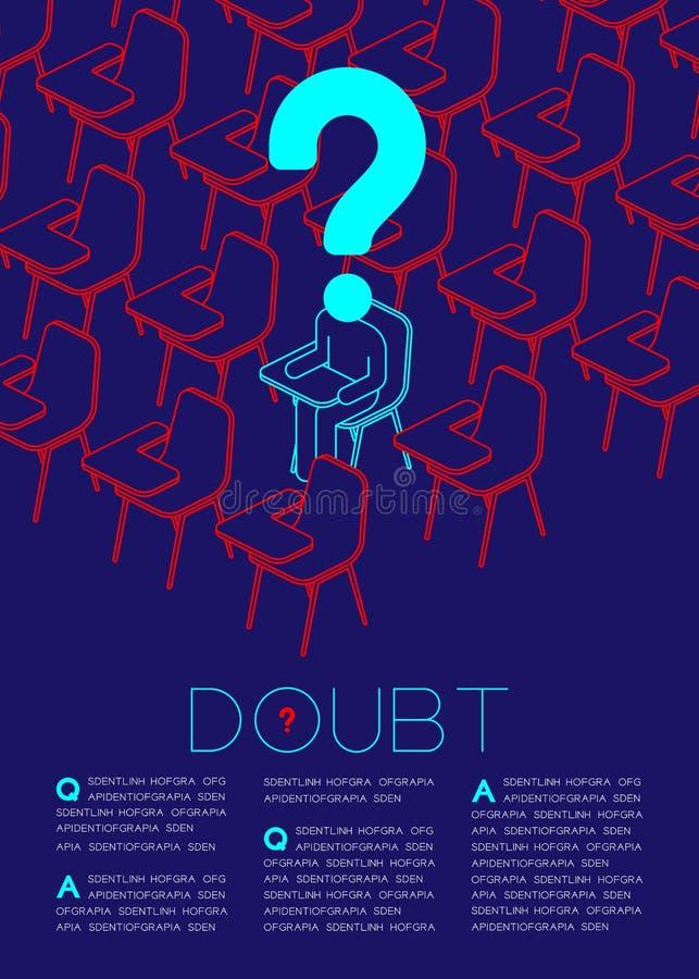 Znak zapytania z wątpliwość mężczyzna ikony piktogramem w sala lekcyjnej, socjalny wydaje: Edukaci pojęcia magazynu strony układu ilustracja wektor