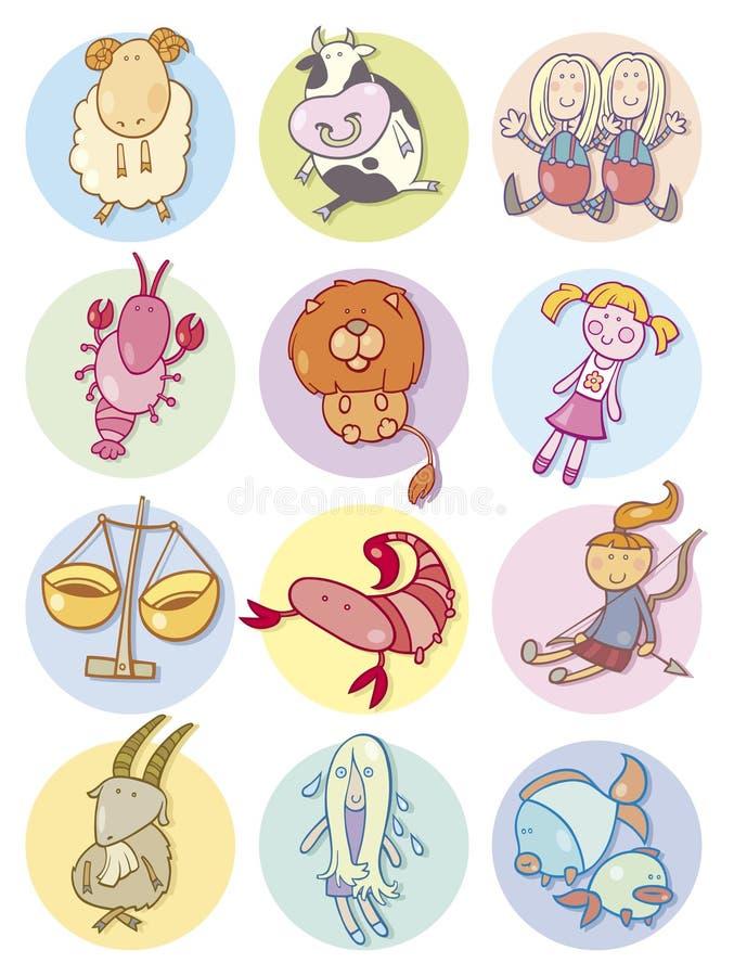 znaka śliczny zodiak ilustracji