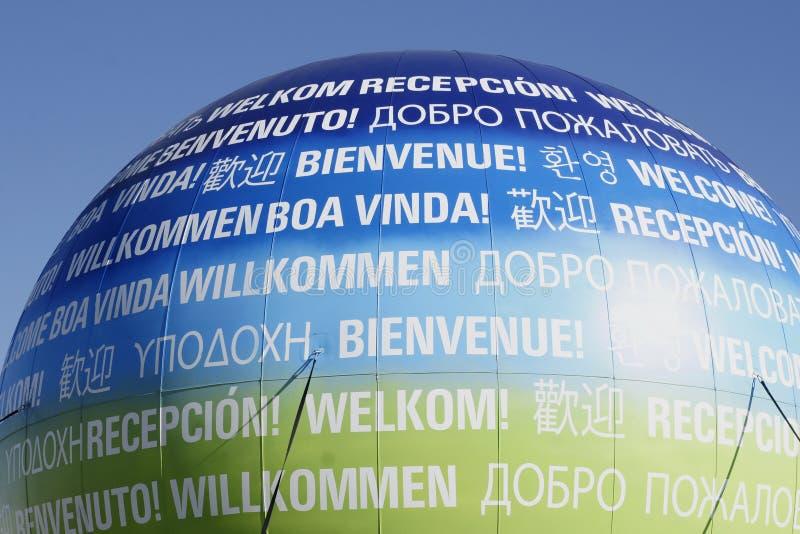 znaka balonowy powitanie obrazy stock