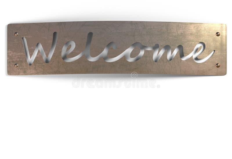 Znaka powitalnego metalu miedziany talerz odizolowywający na białej 3d ilustraci ilustracja wektor