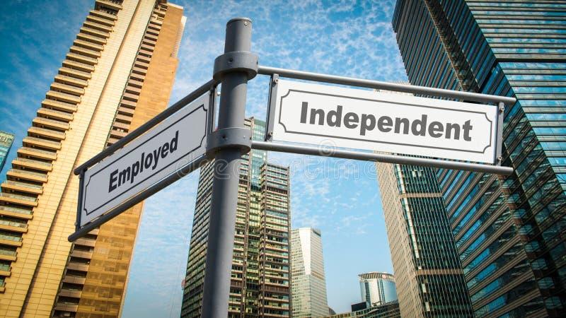 Znaka Ulicznego bezpartyjnik versus zatrudniony zdjęcie royalty free