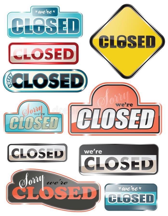 znaka zamknięty glansowany sklep zdjęcie stock