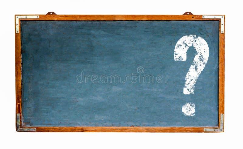 Znaka zapytania bielu znak z negatyw przestrzenią dla teksta na błękitnego starego grungy rocznika szerokim drewnianym chalkboard fotografia stock
