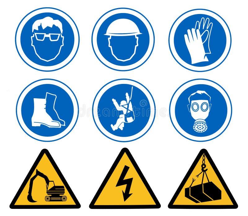 znaki bezpieczeństwa zdrowia royalty ilustracja