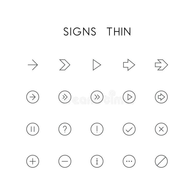 Znaki cienieją ikona set ilustracji