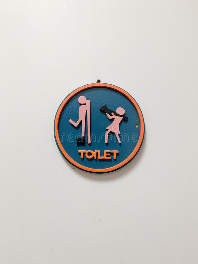 Znaki na przodzie łazienka, piękny koloru okrąg obraz royalty free
