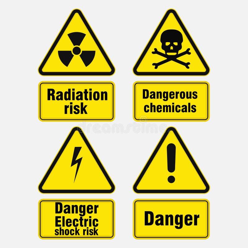 Znaki ostrzegawczy o niebezpieczeństwie, podpisują wewnątrz żółtych trójboki royalty ilustracja