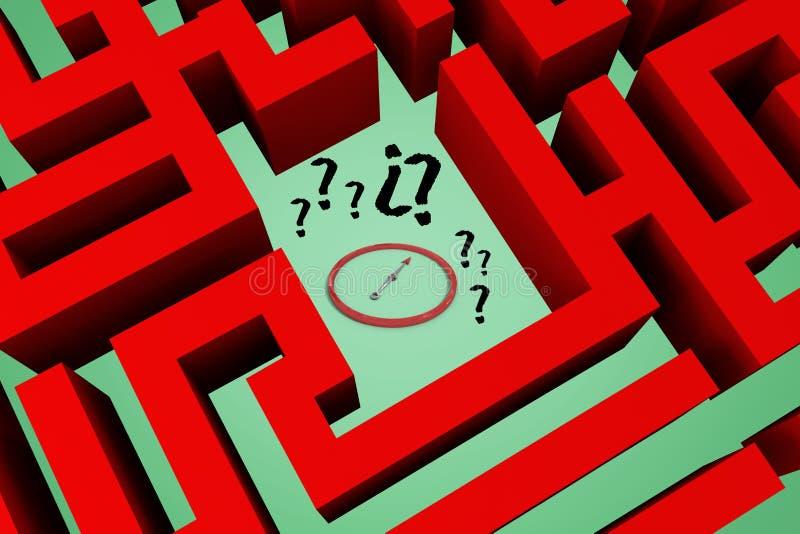 znaki zapytania i zegar w labiryntu centre ilustracja wektor