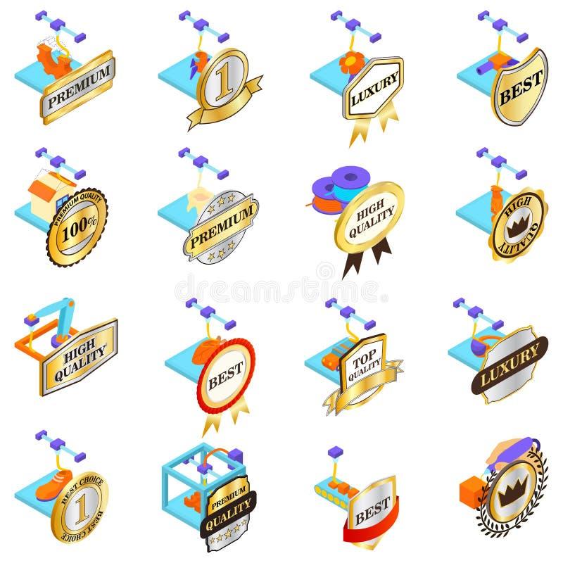 Znakomite drukowe ikony ustawiać, isometric styl royalty ilustracja