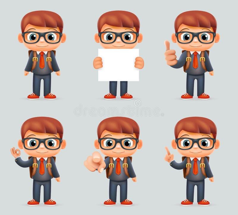 Znakomitego Studenckiego geniusz szkoły chłopiec munduru kostiumu gogle Eyeglasses Mądrego Mądrze Schoolbag akcj 3d Różna kresków ilustracji
