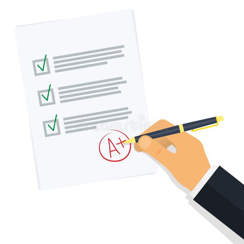 Znakomity egzaminów rezultatów papieru prześcieradło ilustracja wektor