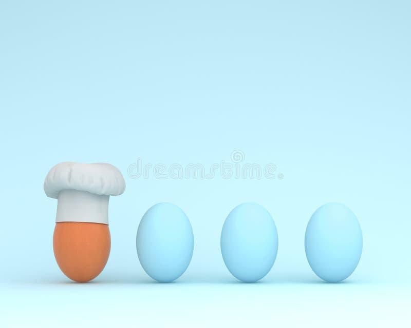 Znakomity szefa kuchni kapelusz z jajeczny unosić się z błękitnymi jajkami na pastelu ilustracja wektor