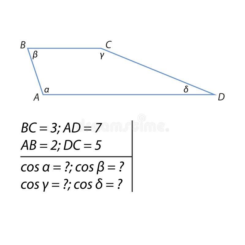 Znalezienie cosinusów trapeze ilustracji
