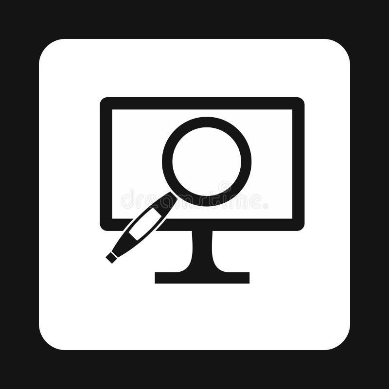 Znalezienie informacja na komputerowej ikonie, prosty styl ilustracja wektor