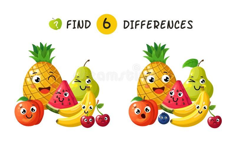 Znalezienie różnicy Dzieci gemowi z szczęśliwymi kreskówek owoc Wektorowa ilustracja dla dzieciak książki royalty ilustracja