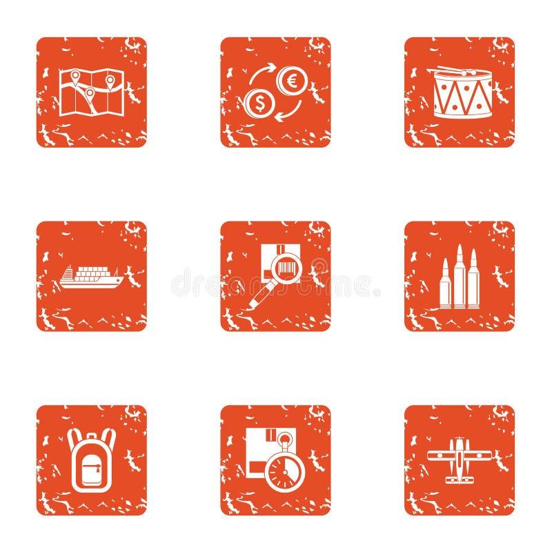 Znalezienie sposobów ikony ustawiać, grunge styl ilustracja wektor