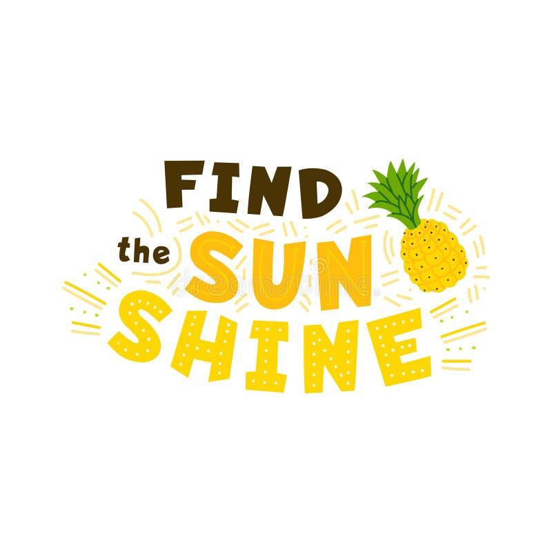 Znaleziska światła słonecznego żółty płaski wektorowy literowanie ilustracja wektor