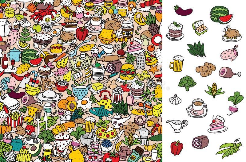 Znaleziska jedzenie, wizualna gra Rozwiązanie w chowanej warstwie! royalty ilustracja