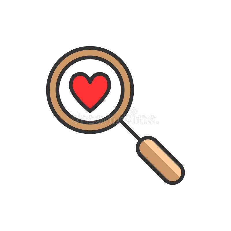Znaleziska serce i miłości ikona, wektor Koloru Powiększać - szkło z sercem Datowanie ilustracja odizolowywająca na bielu ilustracji