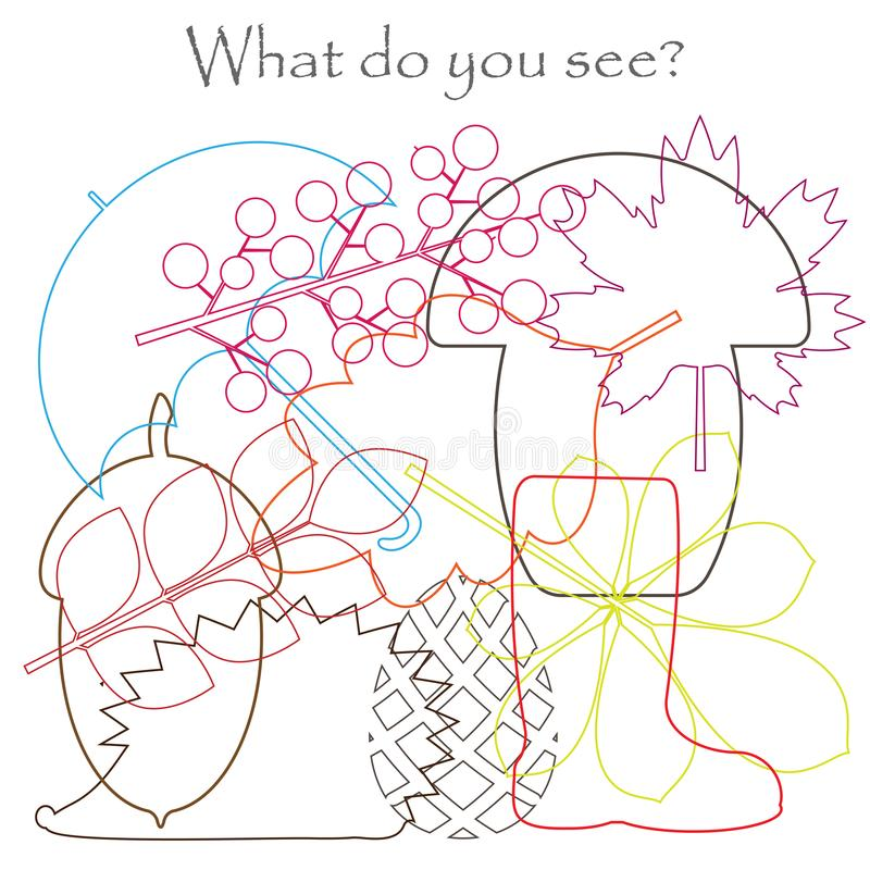 Znalezisko chujący protestuje na obrazku, jesień tematu liście, parasol, jeż, pieczarka, acorn, miszmaszu konturu set, zabawy edu ilustracja wektor