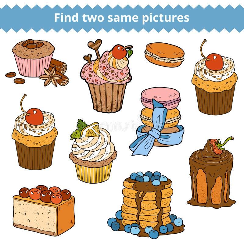 Znalezisko dwa to samo obrazki Wektorowy koloru set torty i babeczki ilustracja wektor