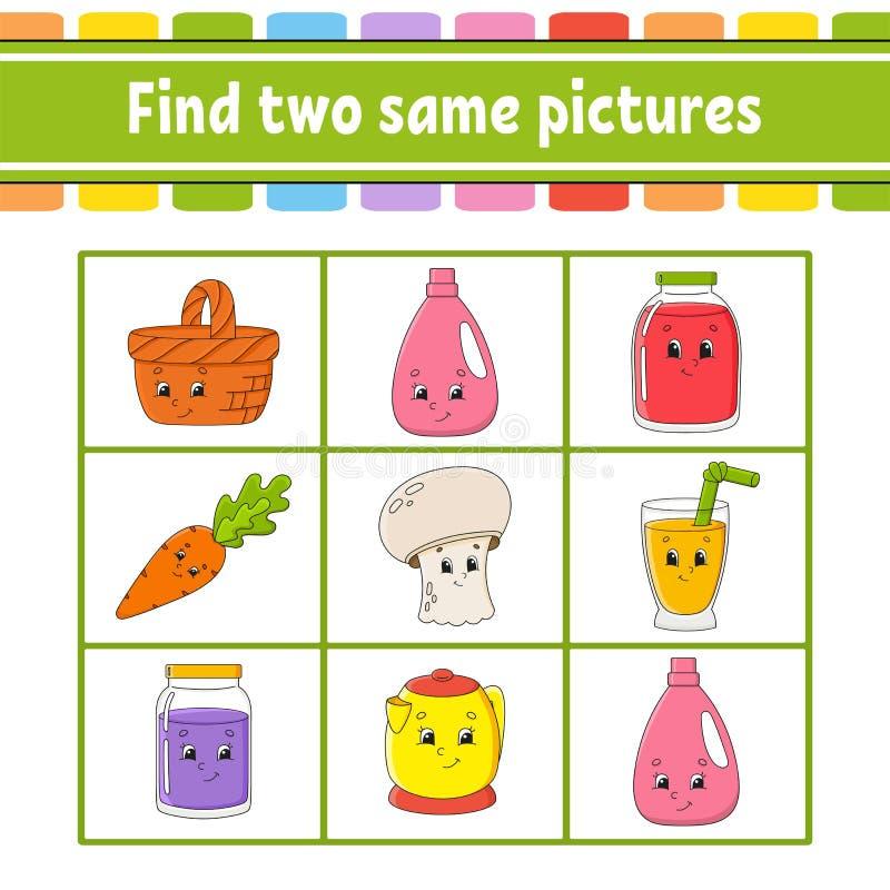 Znalezisko dwa to samo obrazki Zadanie dla dzieciak?w Edukacji rozwija worksheet Aktywno?ci strona Gra dla dzieci ?mieszny charak ilustracja wektor