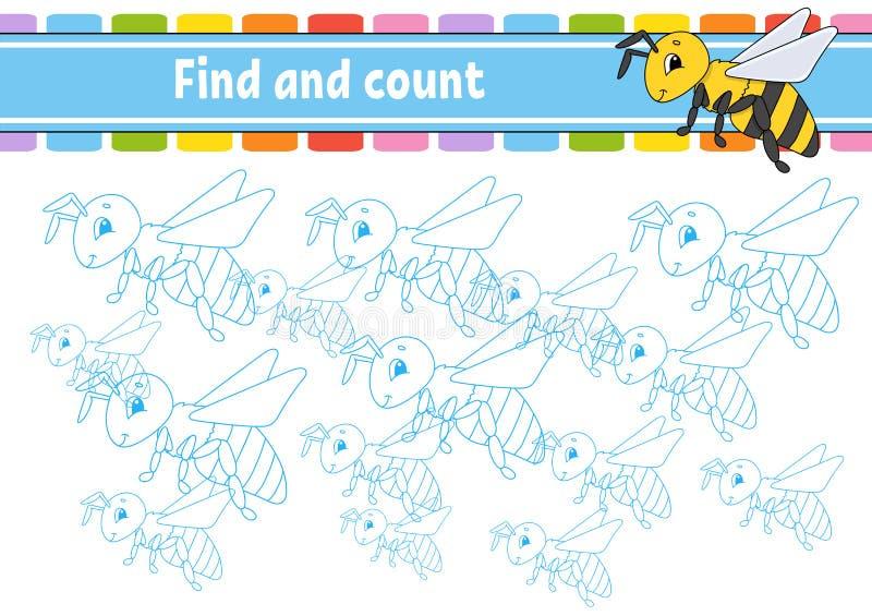 Znalezisko i obliczenie Edukacji rozwija worksheet Aktywności strona z obrazkami Łamigłówki gra dla dzieci Logicznego główkowania ilustracja wektor