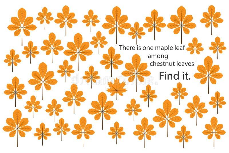 Znalezisko liść klonowy wśród kasztanu opuszcza z dziećmi, zabawy edukaci łamigłówki gra dla preschool worksheet aktywność dla dz ilustracji
