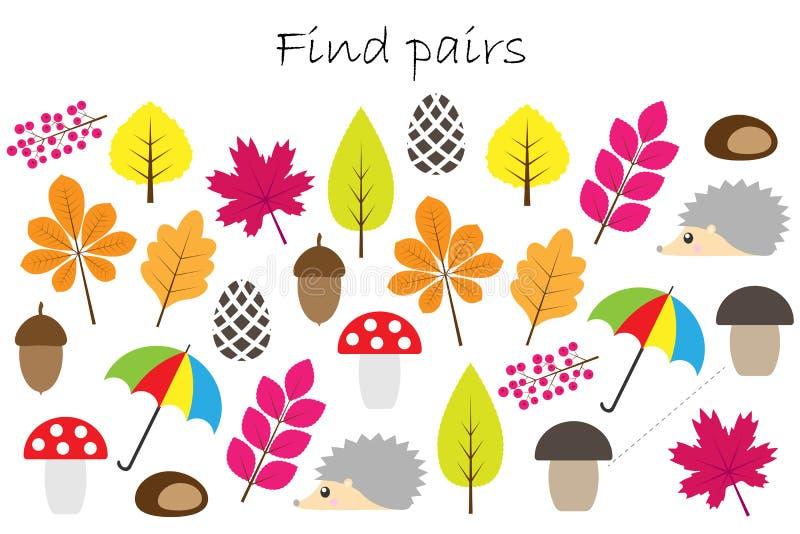 Znalezisko pary identyczni obrazki, zabawy edukaci gra z jesień tematem dla dzieci, preschool worksheet aktywność dla dzieciaków, ilustracja wektor
