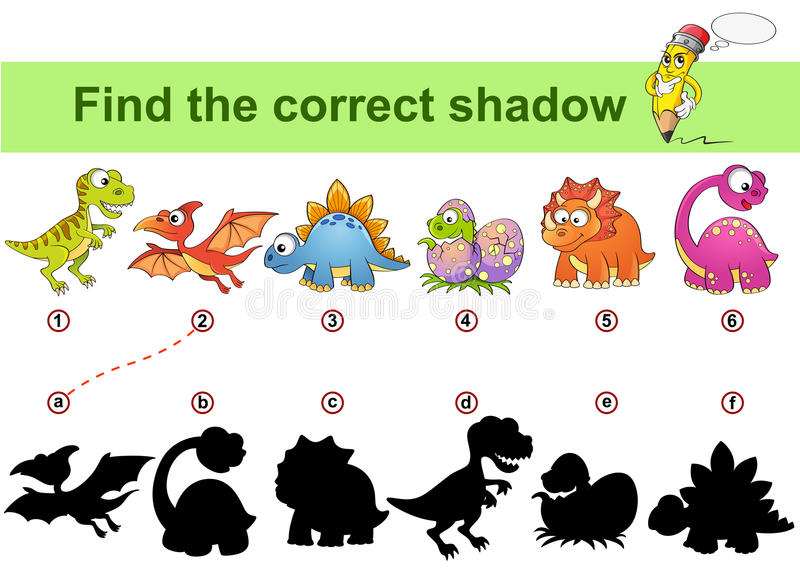 Znalezisko poprawny cień Żartuje edukacyjną grę Dinosaury ilustracja wektor