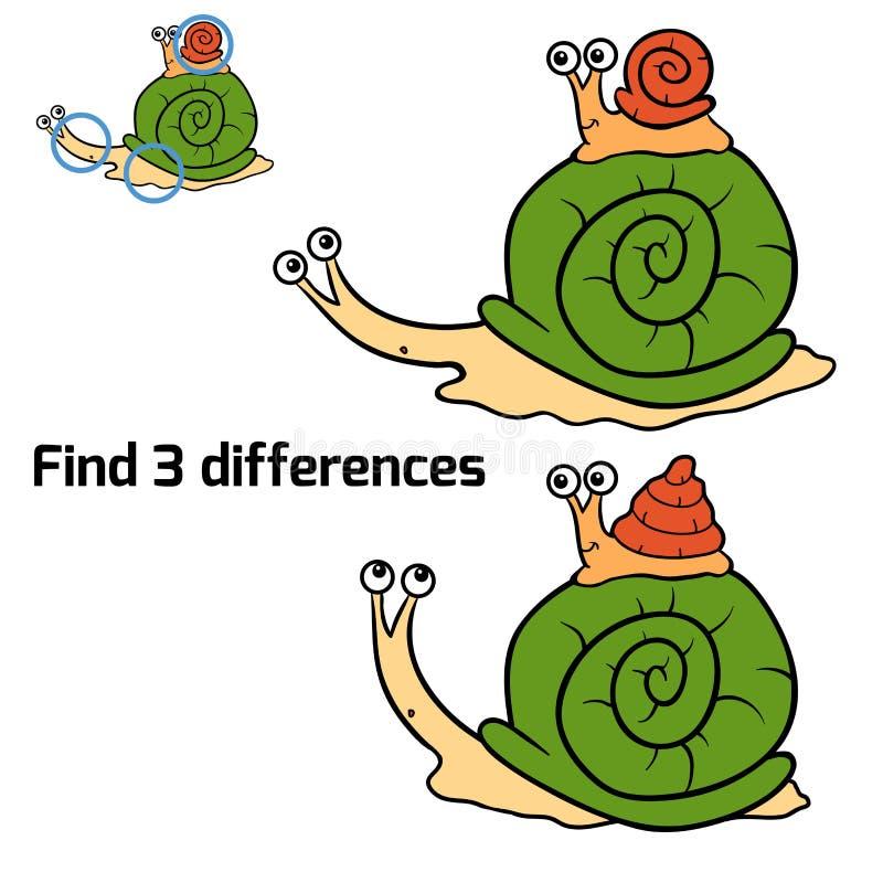 Znalezisko 3 różnicy (ślimaczki) ilustracja wektor