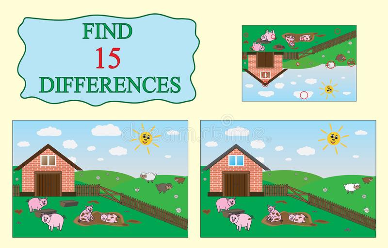 znalezisko różnicy Edukacyjna gra dla dzieci Gospodarstwo rolne, świnie, cakle ilustracja wektor