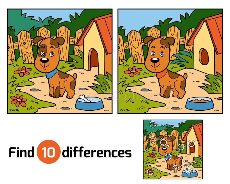 Znalezisko różnicy gemowe dla dzieci (pies) royalty ilustracja