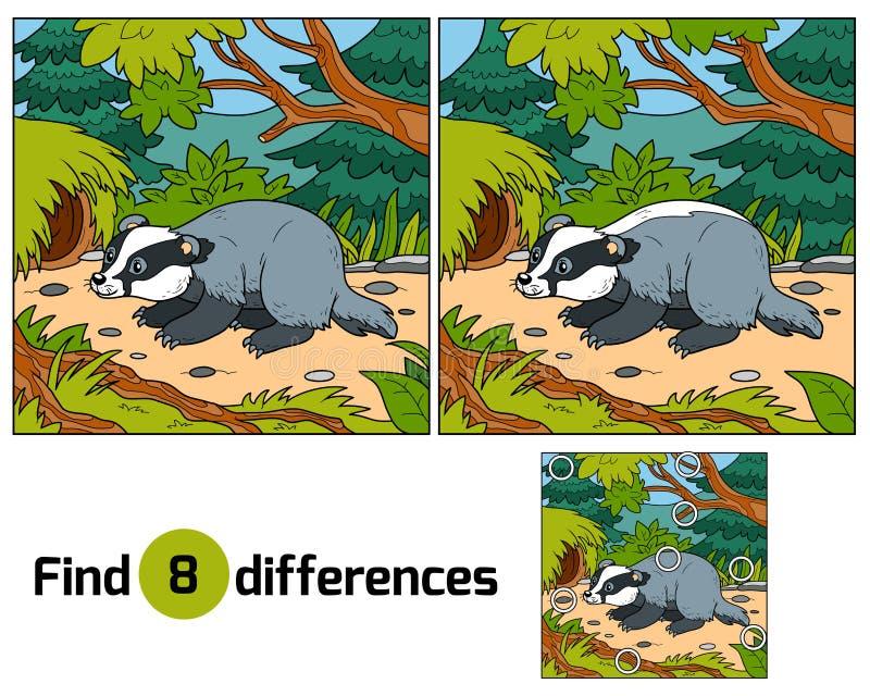 Znalezisko różnicy, gra dla dzieci (borsuk i tło) ilustracji