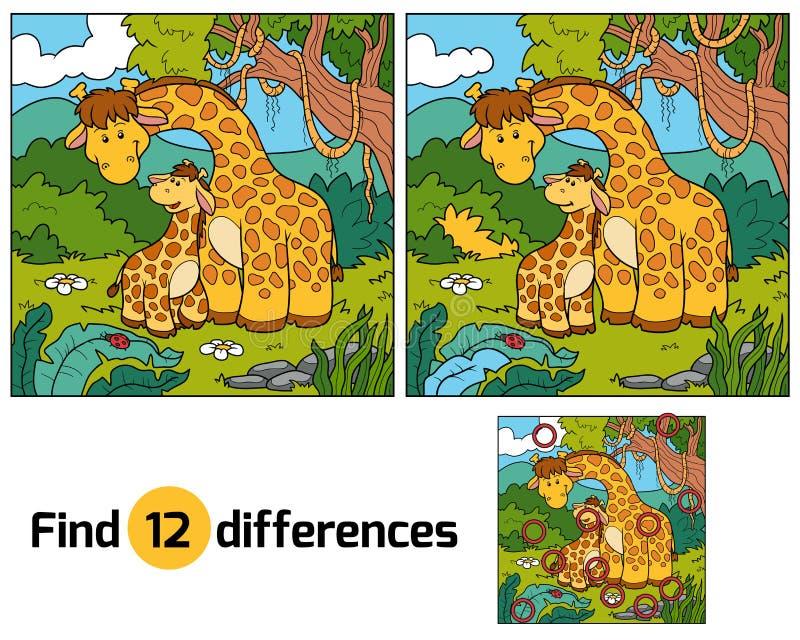 Znalezisko różnicy, gra dla dzieci (dwa żyrafy) royalty ilustracja