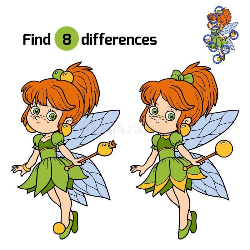 Znalezisko różnicy, gra dla dzieci: mała czarodziejka ilustracja wektor