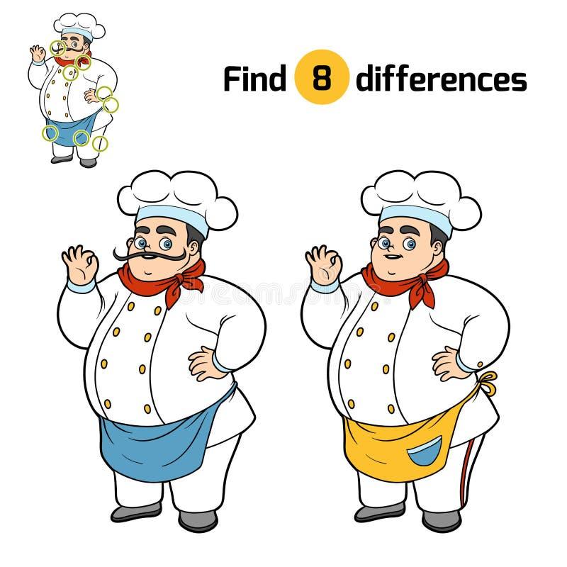 Znalezisko różnicy, szef kuchni ilustracji