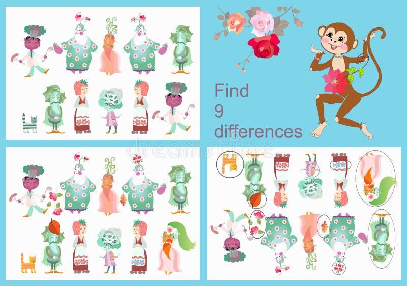 znalezisko różnicy Wizualna gra dla dzieci i dorosłych z rozochoconymi niezwykłymi charakterami ilustracja wektor