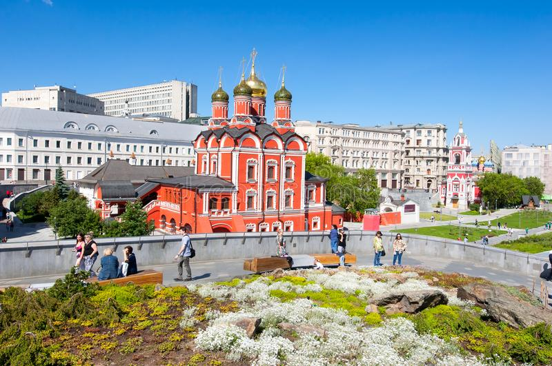 Znamensky Cathedral former Znamensky monastery on the Zaryadye Park area locals and guests of capital go sightseeing. Moscow, Russia May-27,2018: Znamensky stock photo