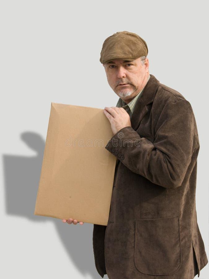 zniechęconego mienia mężczyzna stary znak zdjęcie stock