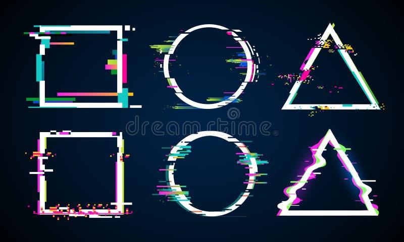 Zniekształcająca usterki rama Glitched okrąg, kwadrat i trójbok ramy, Muzycznego wykoślawienie logo wektorowi elementy ustawiając ilustracji