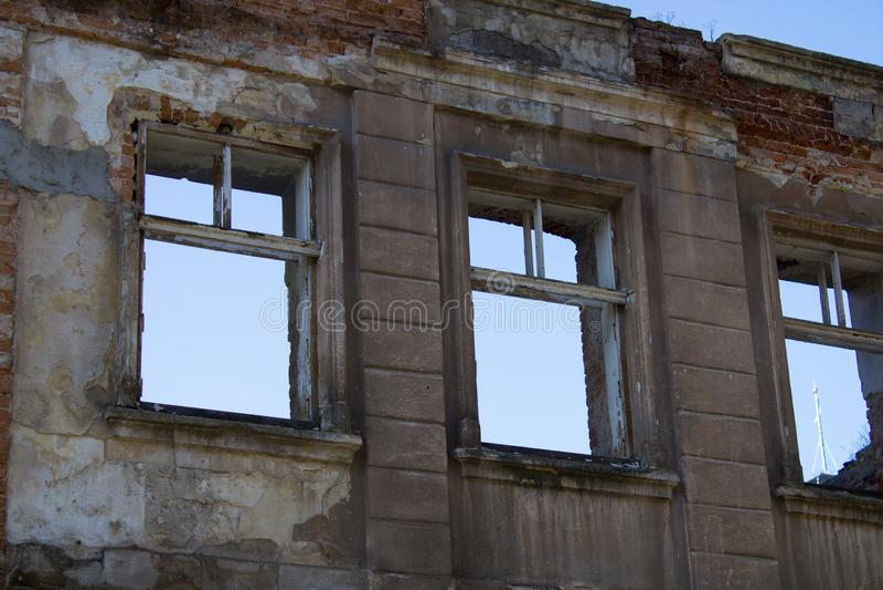 Zniszczeni domy po trzęsienia ziemi zdjęcia stock