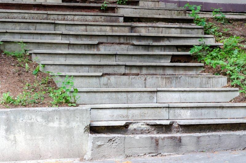 Zniszczeni starzy betonowi schodki w parku zdjęcie royalty free