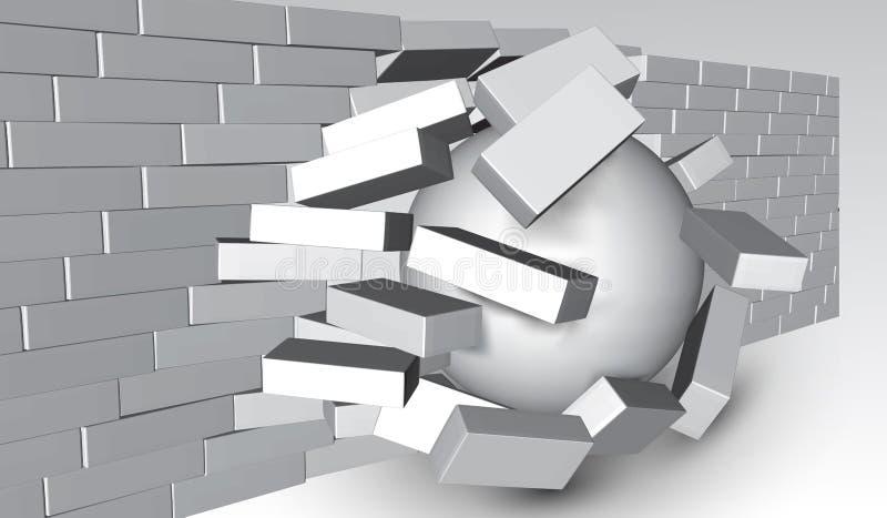 Zniszczenie ściana z cegieł 3D łamania ściana z cegieł Ściana Jest Roztrzaskujący lub Łama Oddzielnie Zniszczenie abstrakta tło ilustracja wektor