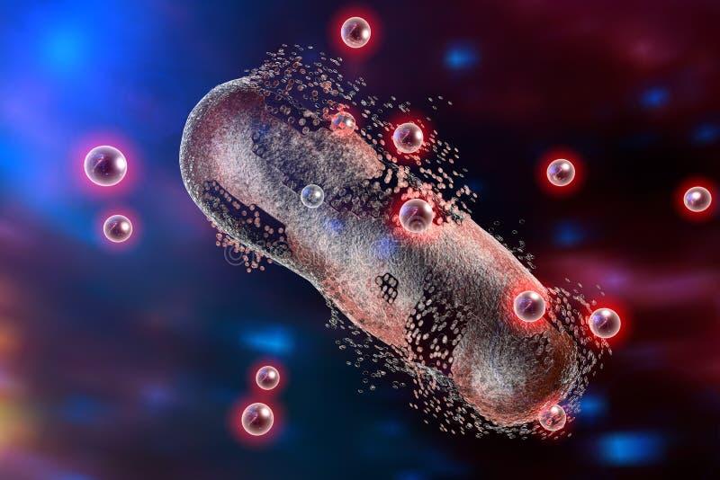 Zniszczenie bakteria srebnymi nanoparticles ilustracja wektor