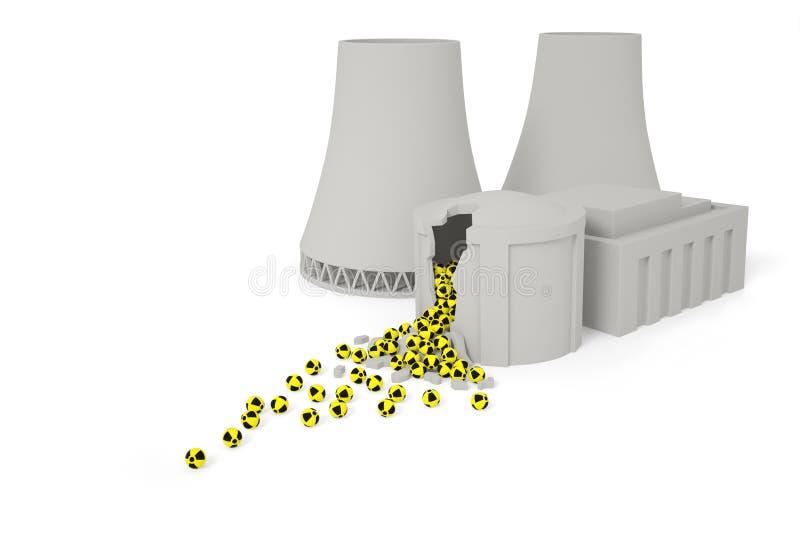 Zniszczona elektrownia jądrowa ilustracja wektor