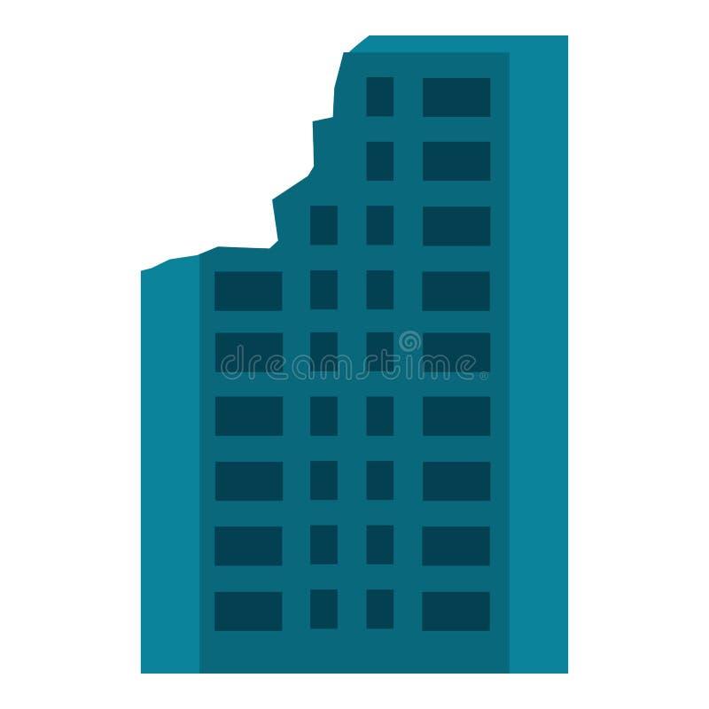 Zniszczona miasto budynku ikona, mieszkanie styl royalty ilustracja