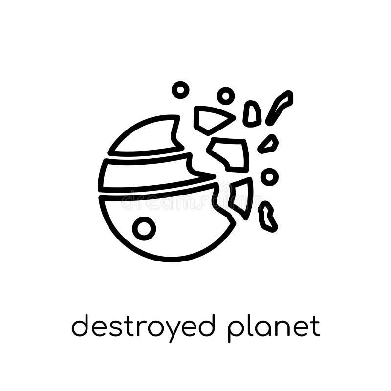 Zniszczona planety ikona od astronomii kolekcji royalty ilustracja