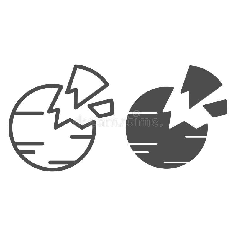 Zniszczona planety linia i glif ikona Łamanej planety wektorowa ilustracja odizolowywająca na bielu Astronautyczny konturu stylu  ilustracji